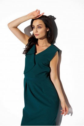 Elegant dress with frill L337 dark green