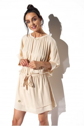 Classic, airy dress tied at the waist L325 beige