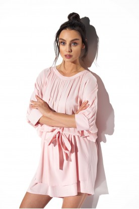 Classic, airy dress tied at the waist L325 powder pink