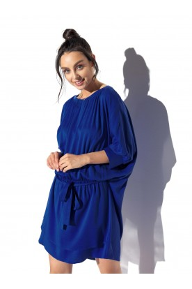 Classic, airy dress tied at the waist L325 blue