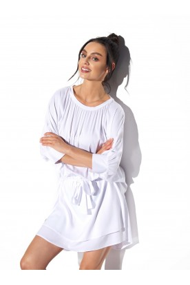 Classic, airy dress tied at the waist L325 white