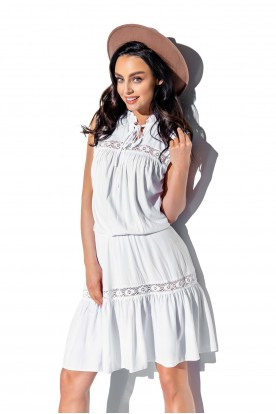 Fashionable dress with lace inserts L333 white