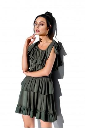 Sukienka na jedno ramię z falbanką kolor L336 khaki