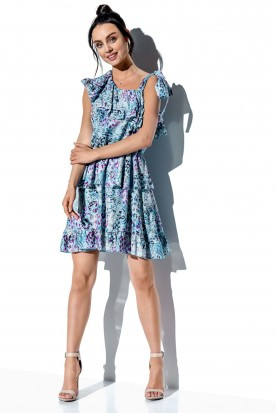 One-shoulder dress with a flounce with pattern LG546 print 14