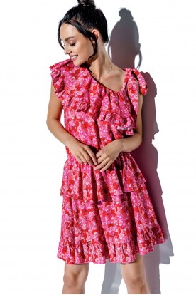 One-shoulder dress with a flounce with pattern LG546 print 17
