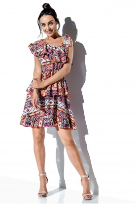 One-shoulder dress with a flounce with pattern LG546 print 19