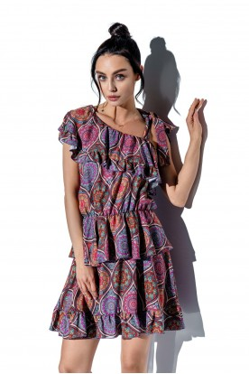 One-shoulder dress with a flounce with pattern LG546 print 20
