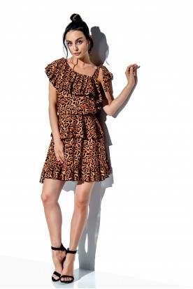 One-shoulder dress with a flounce with pattern LG546 print 21