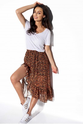 Long skirt with frill and silk LG542 print 21