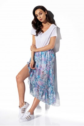 Long skirt with frill and silk LG542 print 14