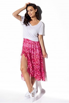 Long skirt with frill and silk LG542 print 17