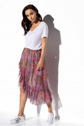 Long skirt with frill and silk LG542 print 20