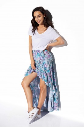 Asymmetrical skirt with frill and silk LG544 print 14