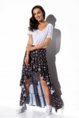 Asymmetrical skirt with frill and silk LG544 print 15