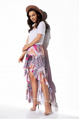 Asymmetrical skirt with frill and silk LG544 print 16