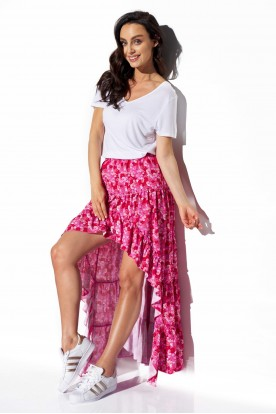 Asymmetrical skirt with frill and silk LG544 print 17