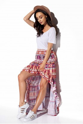 Asymmetrical skirt with frill and silk LG544 print 19