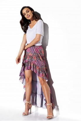 Asymmetrical skirt with frill and silk LG544 print 20