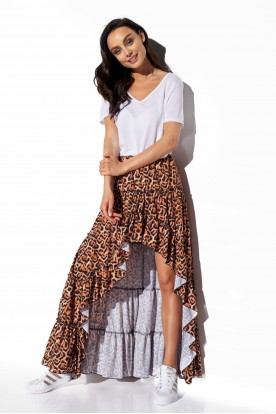 Asymmetrical skirt with frill and silk LG544 print 21