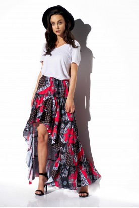 Asymmetrical skirt with frill and silk LG544 print 22