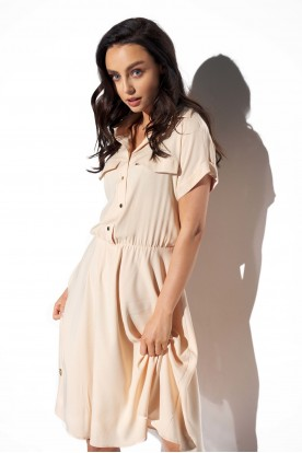 Shirt dress with a collar and buttons L331 beige