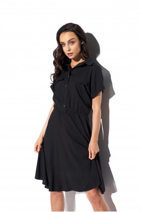 Shirt dress with a collar and buttons L331 black