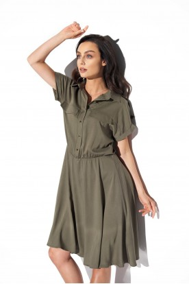 Shirt dress with a collar and buttons L331 khaki