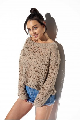 Lightweight openwork sweater LS296 latte