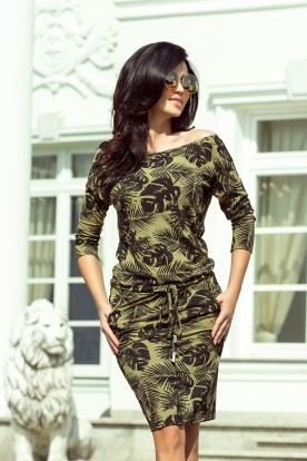 13-85 Sporty dress - round leaves + khaki