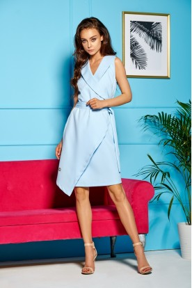 An envelope dress tied in a waist L 308 light blue