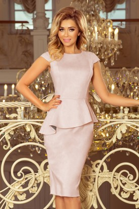 192-12 Elegant midi dress with frill - dirty pink