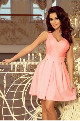 208-5 Dress with lace neckline and pleats - pastel pink