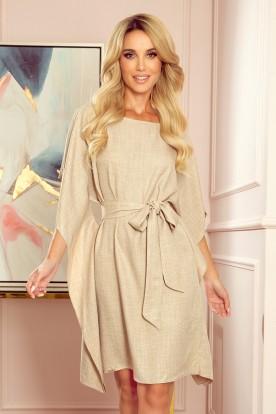 287-10 SOFIA Butterfly dress - pattern - beige linen