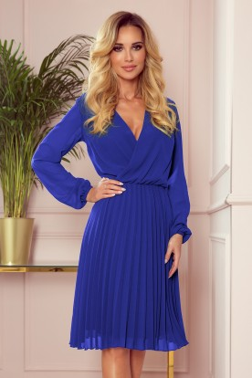 313-3 ISABELLE Pleated dress with neckline and long sleeve - Royal Blue