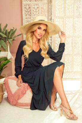 304-2 Chiffon midi dress with a neckline and frill - gr n