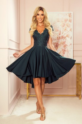 300-5 PATRICIA - dress with longer back with lace neckline - green color