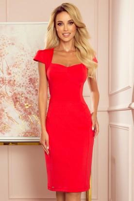 318-1 Midi dress with a nice neckline - red