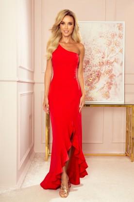317-1 One shoulder long dress - red
