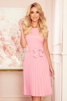 311-7 LILA Pleated dress with short sleeves - powder pink