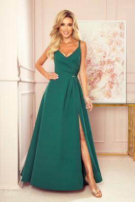 299-4 CHIARA elegant maxi dress with straps - green