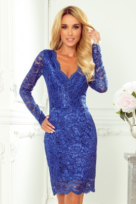 170-8 Lace dress with neckline - blue