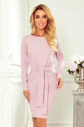209-7 Dress with a wide tied belt - heather