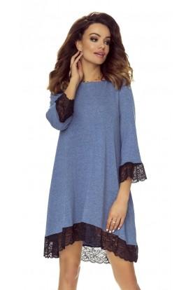 101-06 Reina - sukienka trapezowa (jeans gładki)