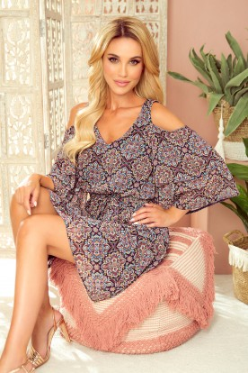 292-3 MARINA flimsy dress with a neckline - Moroccan pattern