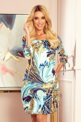 281-3 SOPHIE Comfortable Oversize dress - blue-gold waves