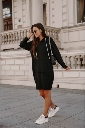 Sporty sweater dress with pocket LSG132 black