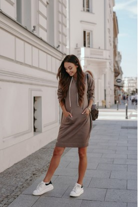 Sporty sweater dress with pocket LSG132 cappuccino