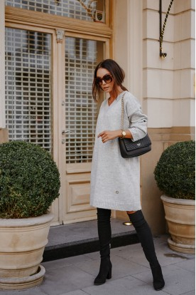 Sweater dress with cleavage LS301 light grey