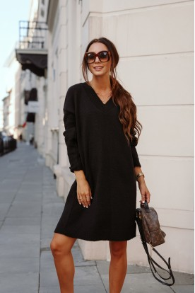 Sweater dress with cleavage LS301 black