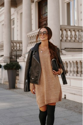 Sweater dress with cleavage LS301 camel